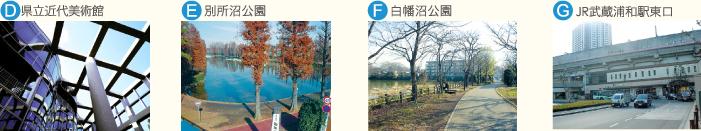 D.県立近代美術館 E.別所沼公園 F.白幡沼公園 G.JR武蔵浦和駅東口